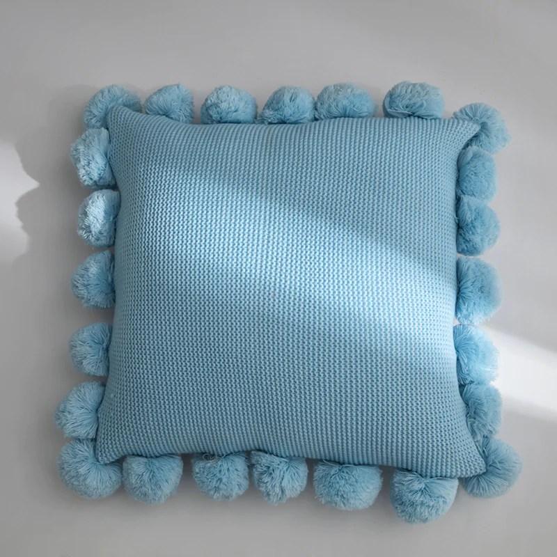 chunky pom pom throw pillow cushion cover