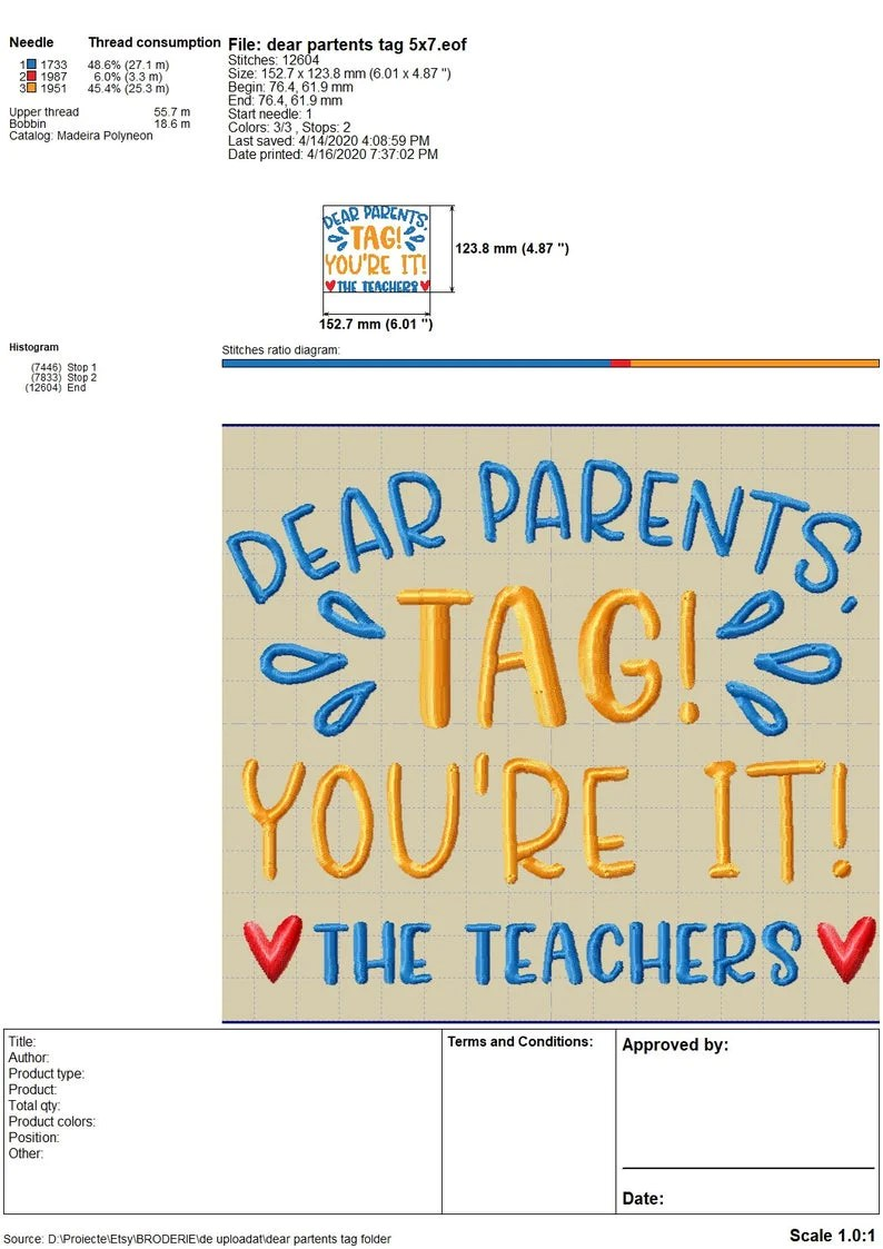 Download Dear Parents, Tag, You're It! Love Teachers Embroidery ...