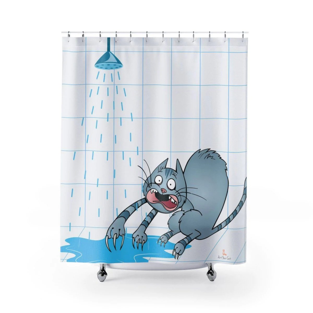 water scaredy cat shower curtain
