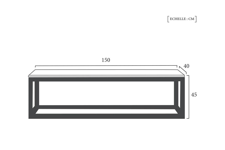dimensions schema technique banc en metal et bois industriel rose moore