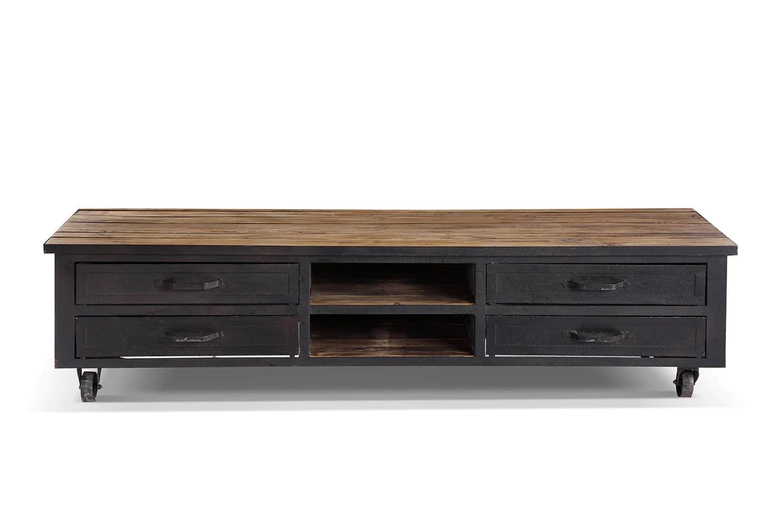 meuble tv industriel a roulettes bois et metal tv01