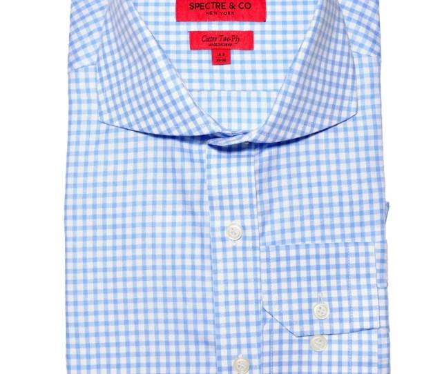 Slim Fit Light Blue Gingham Dress Shirt
