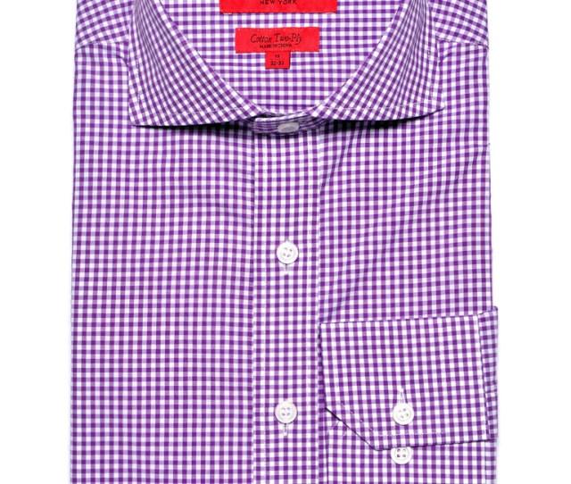 Slim Fit Purple Mini Gingham Dress Shirt