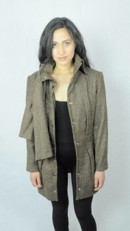 Brown Tweed Coat with Scarf Attachment and Metal Snaps