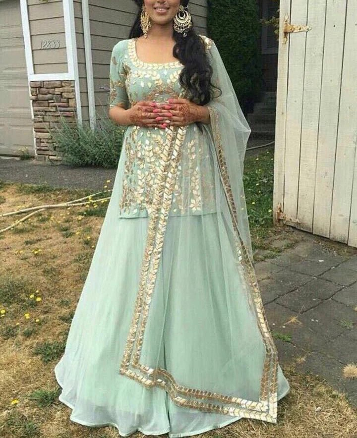 Mint Green Net Gotta Patti Bollywood Fashion Dresses