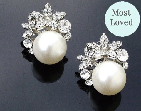 Vintage Style Pearl Amp Crystal Clip On Earrings Carrie