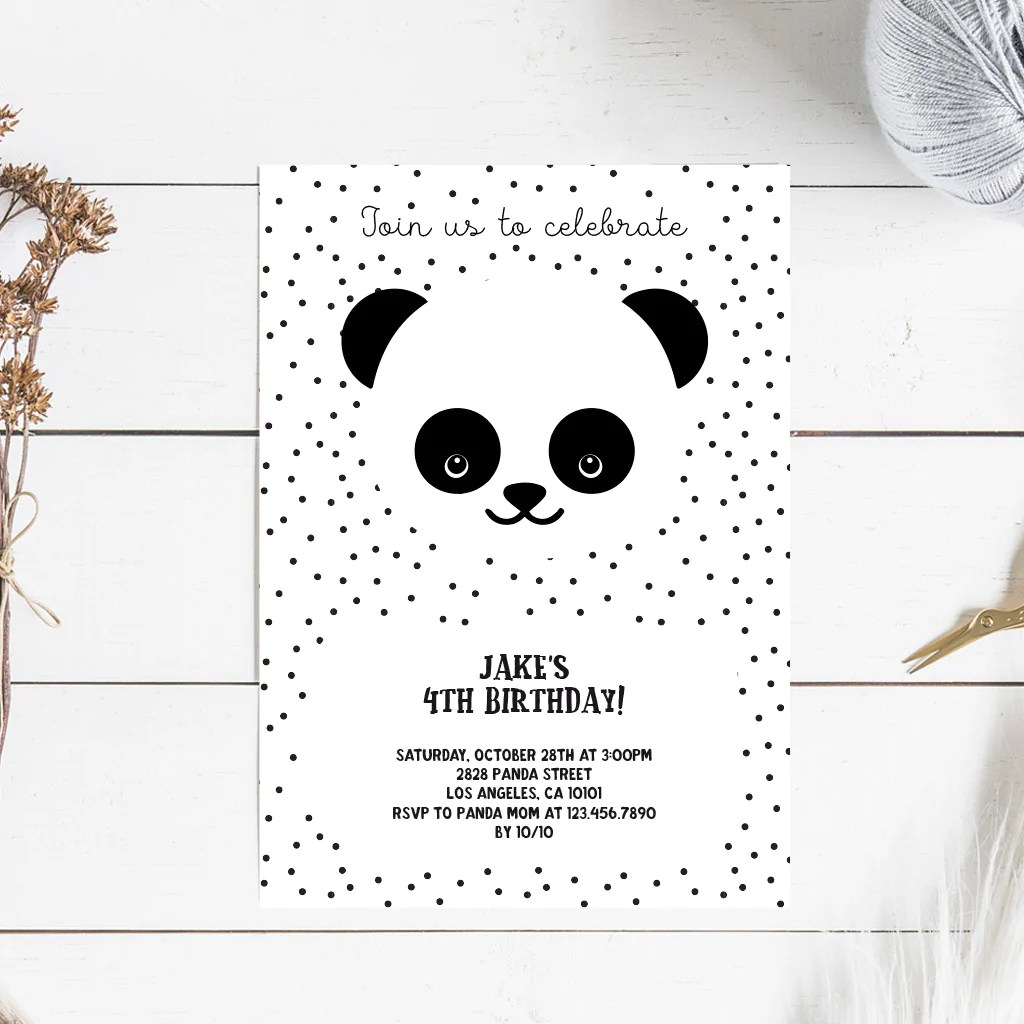 panda birthday printable invitation