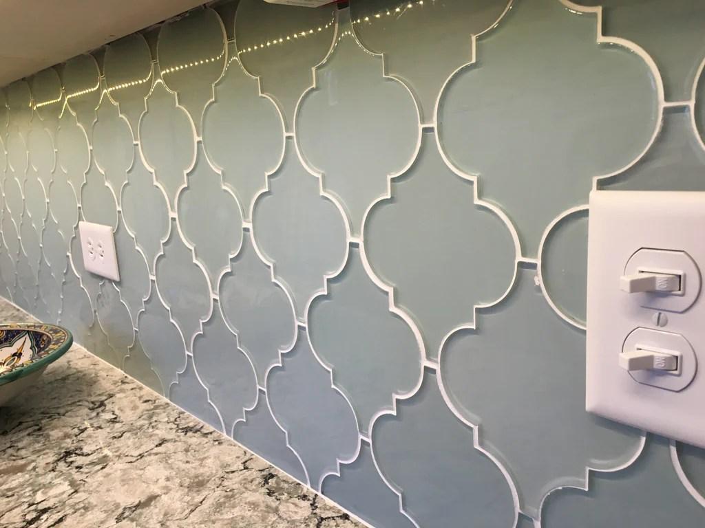 jasper blue gray arabesque glass mosaic tiles