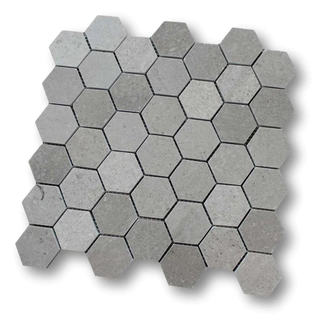 arctic gray marble 2 inch hexagon mosaic tiles