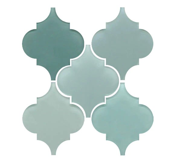 arabesque glass mosaic tile combo pack blues and greens