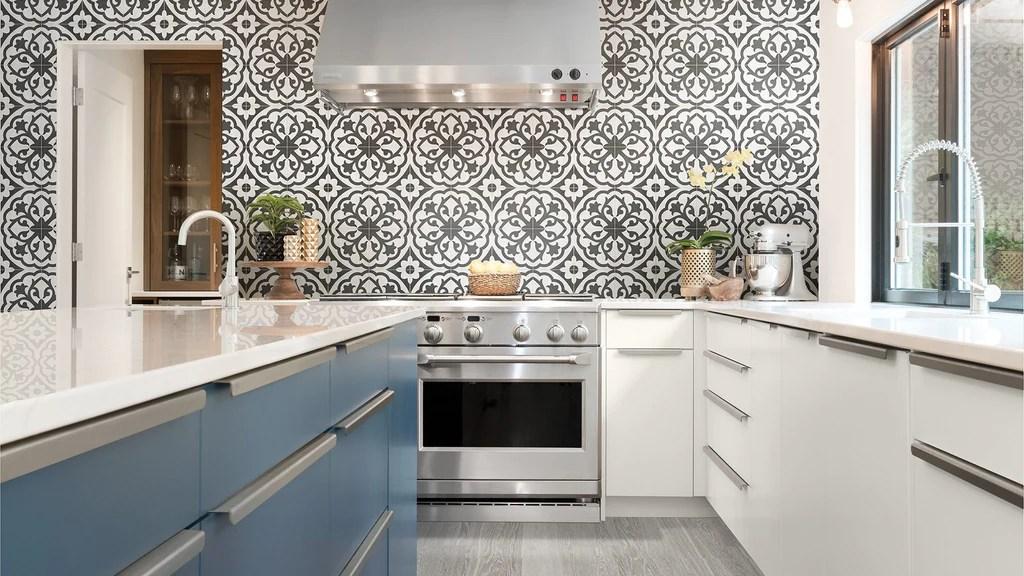 form 8 x 8 cement look glazed porcelain tiles monochrome deco lotus