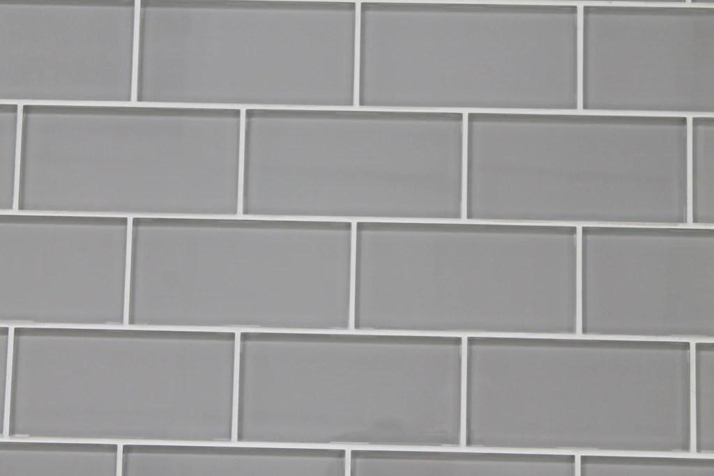 pearl gray 3x6 glass subway tiles