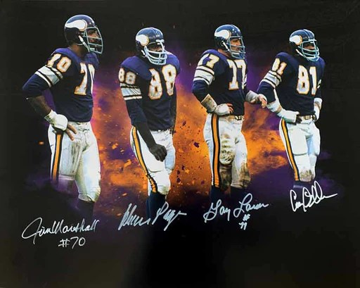 Purple People Eaters Signed Custom Explosion 16 x 20 Photo - Signed by Page, Eller, Marshall, and Larsen
