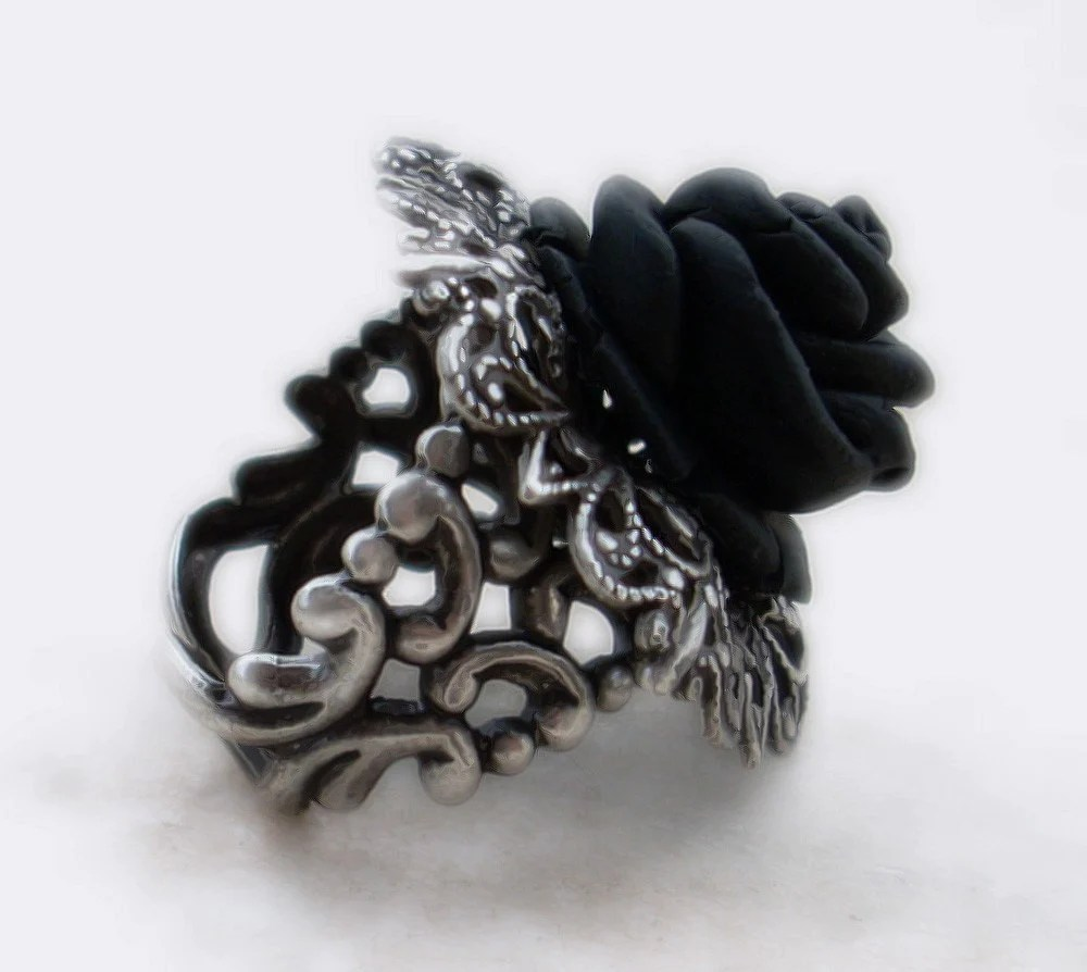 Black Rose Gothic Ring With Silver Filigree Adjustable
