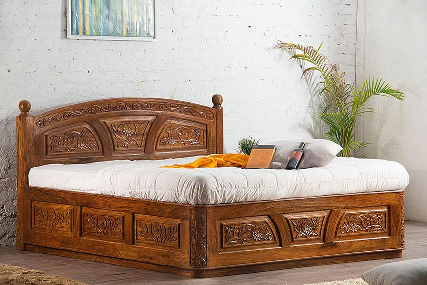 solid wooden carving czar bed with storage saraf furniture
