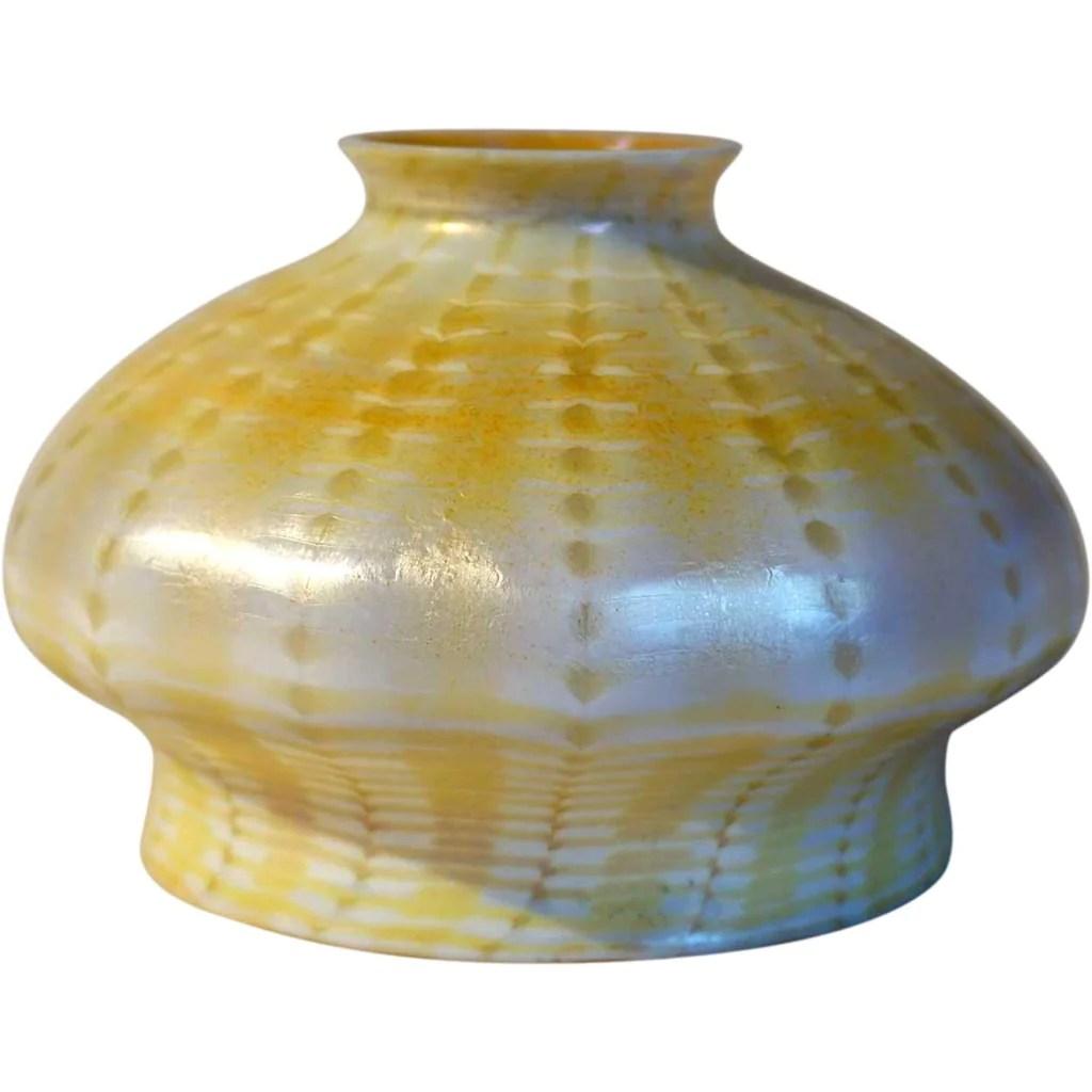 American Steuben Gold Zipper Pattern Art Glass Lamp Shade