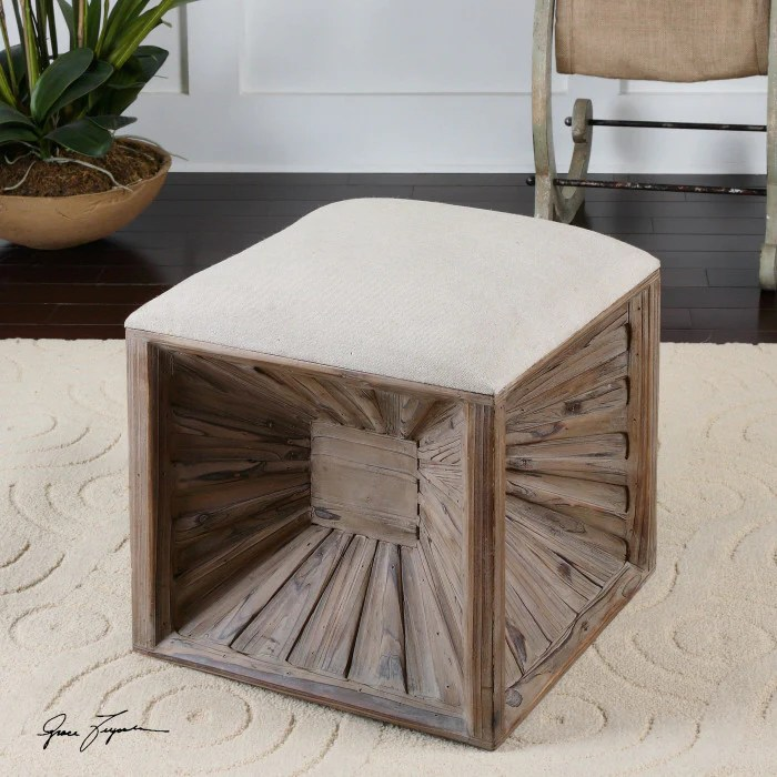 wood linen cube ottoman