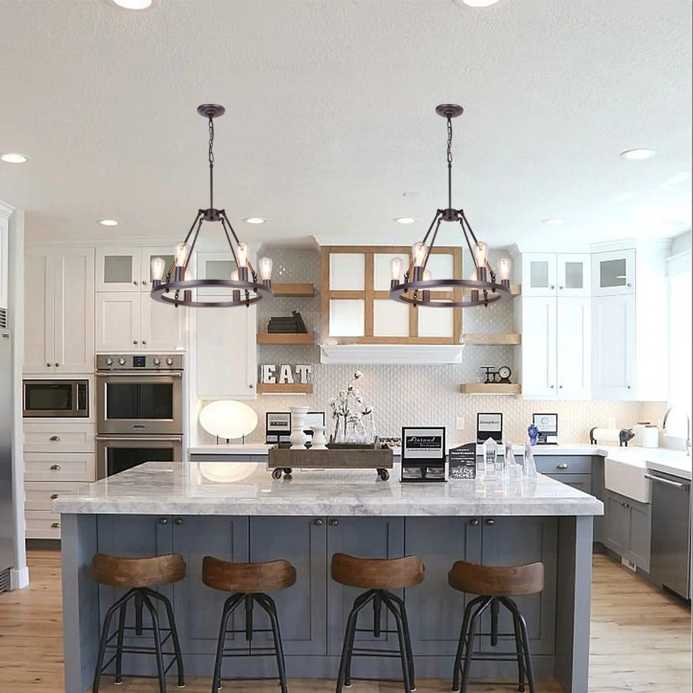 osairuos vintage 6 lights kitchen island rustic pendant chandelier farmhouse rod iron chandeliers ceiling light fixture for dining living room cafe