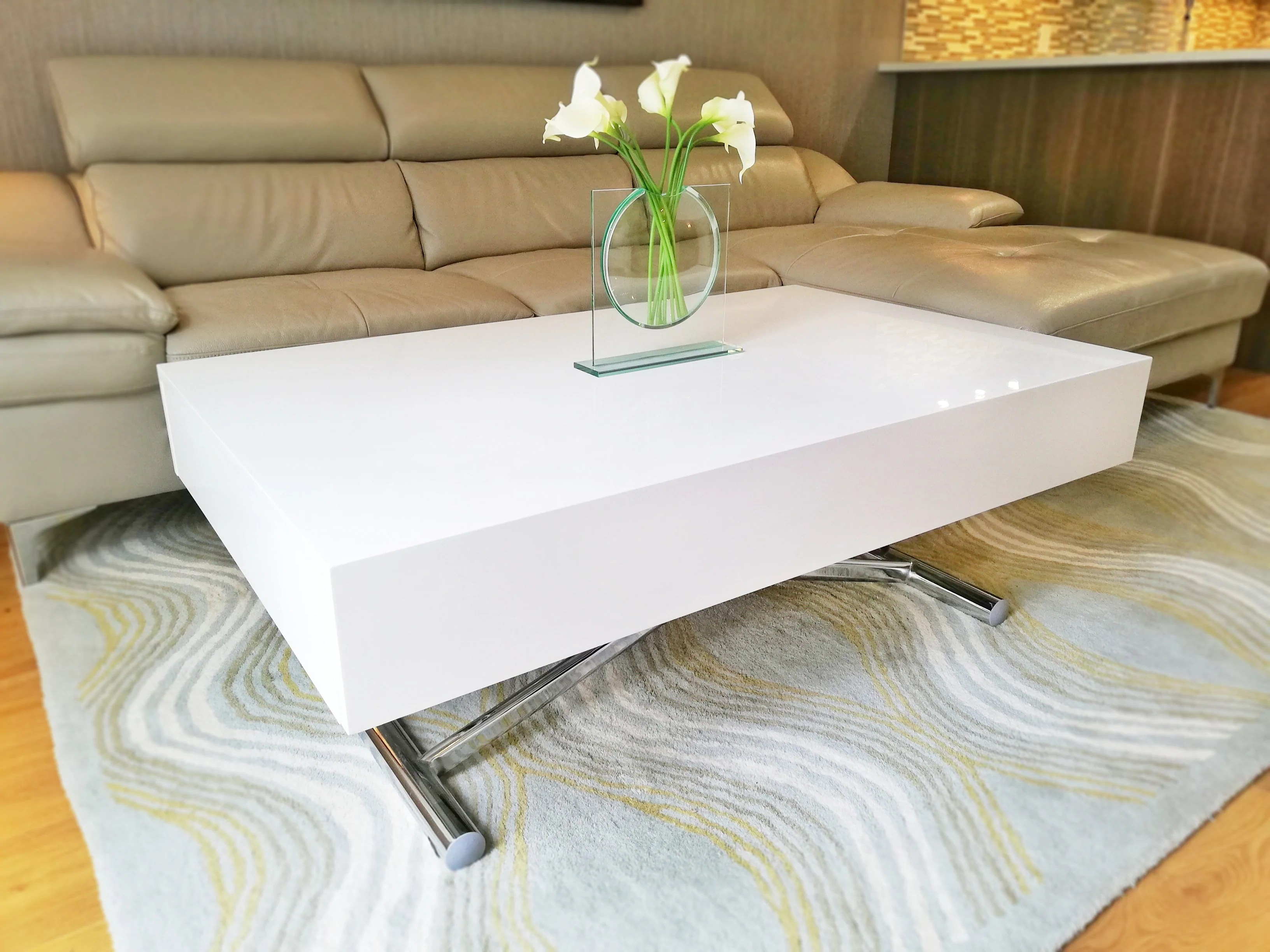 largenta coffee to dining table set white high gloss