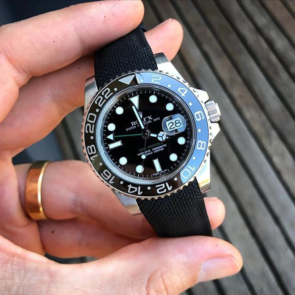 curved end nylon strap on rolex gmt