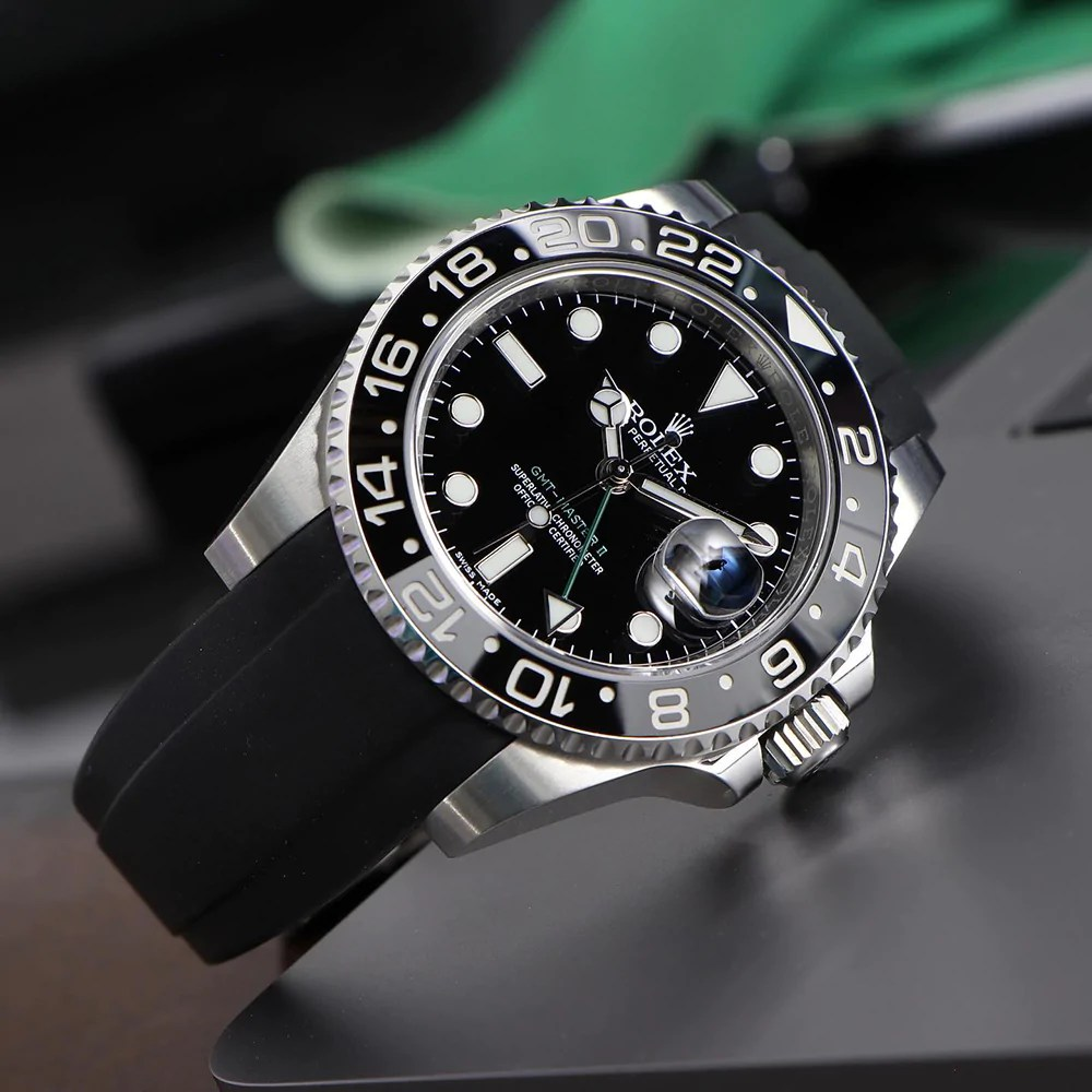 rolex gmt on black rubber stap