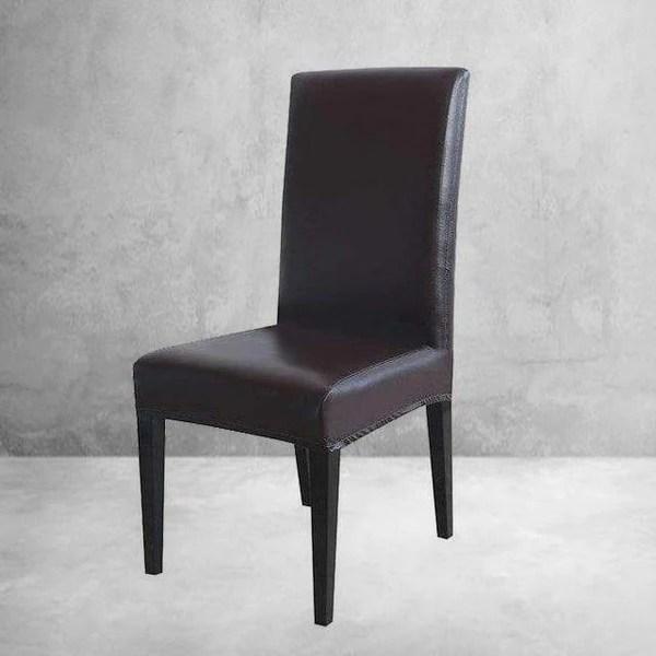 housse de chaise simili cuir marron