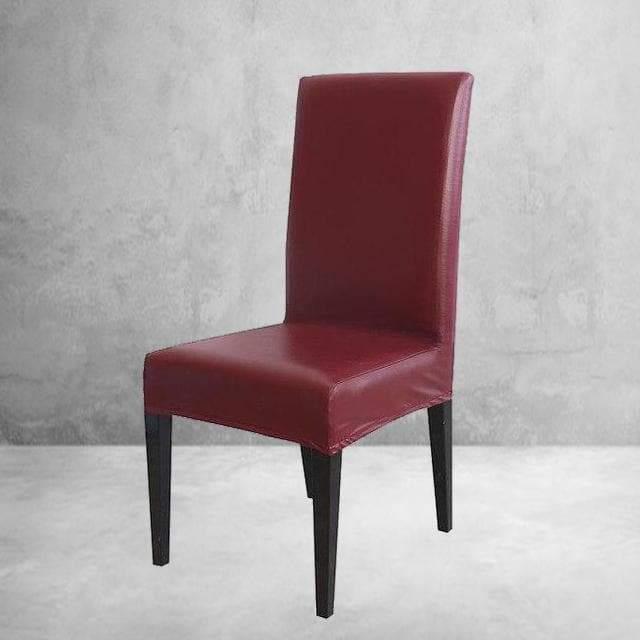 housse de chaise simili cuir bordeaux