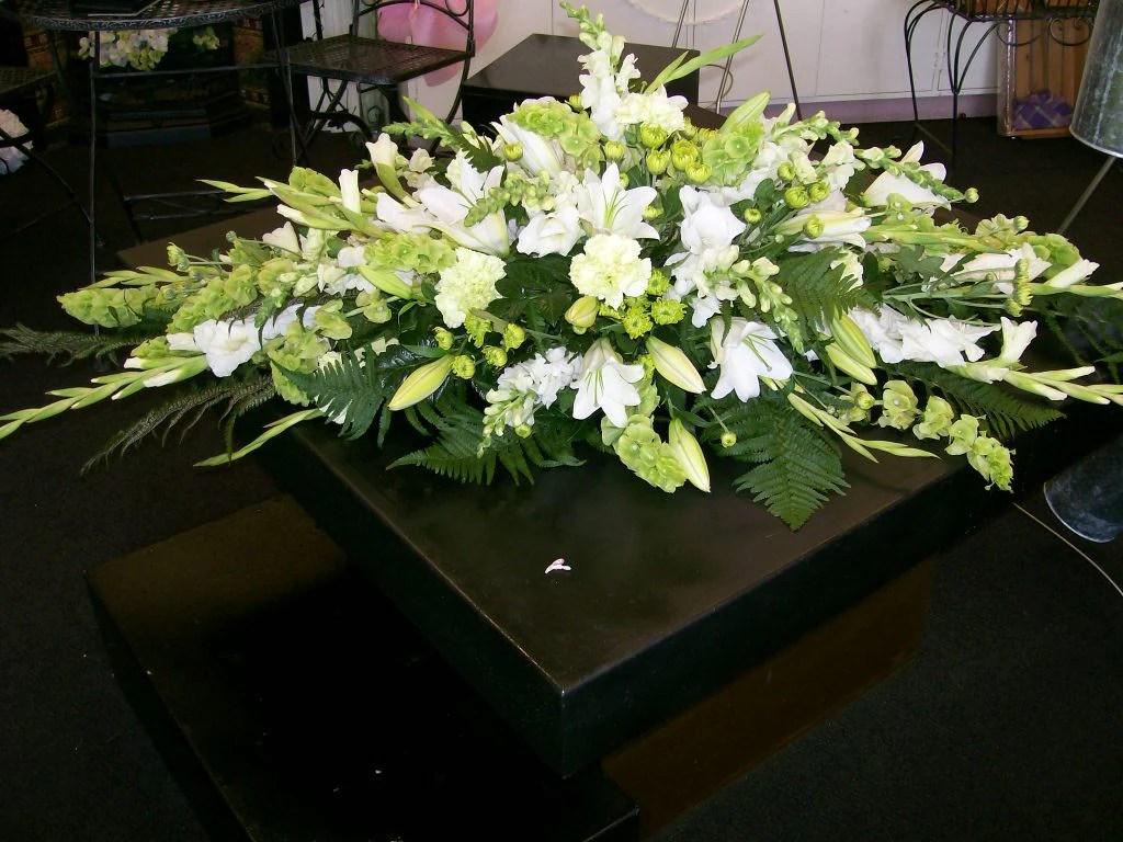 Classic Green Amp White Casket Spray FlowerGirls