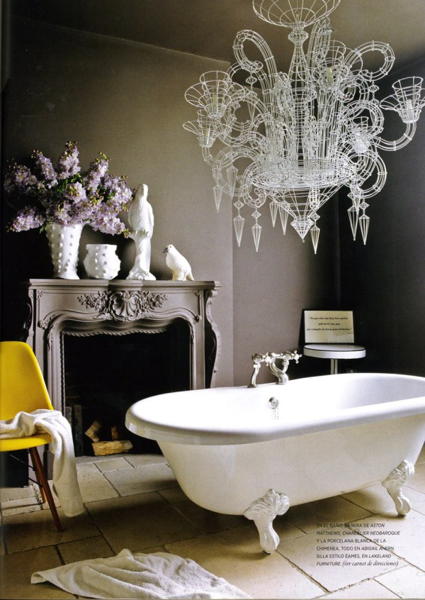 Modern Bathroom Design Eclectic Décor with Clawfoot Tub Neutral Fireplace and Modern White Chandelier