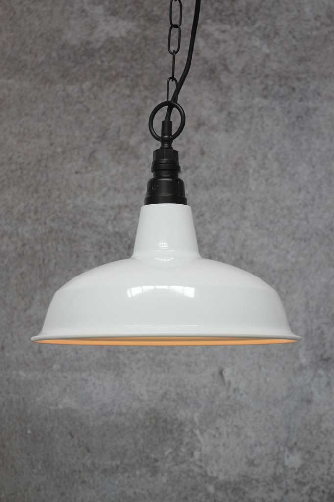 Industrial Warehouse Pendant Light Black White Green Shade Fat Shack Vintage