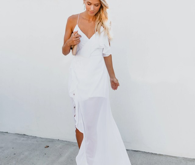 Casanova Ruffle Wrap Maxi Dress White