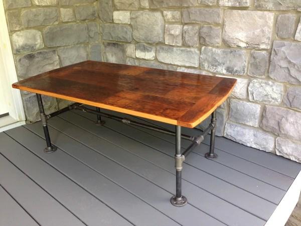 Reclaimed Flooring Coffee Table With Metal Legs