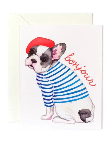 Bonjour French Bulldog Card Golden Fox
