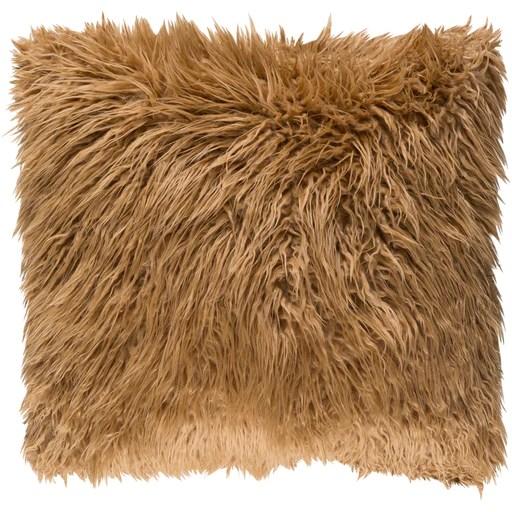 camel faux fur pillow