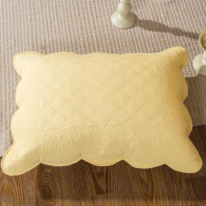 tache yellow diamond matelasse scalloped buttercup puffs pillow sham yellemdes