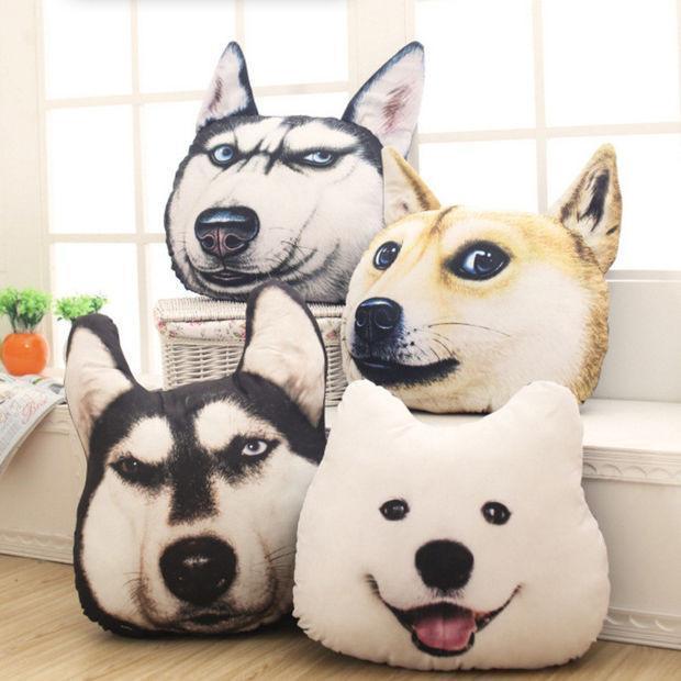 tache squishy cute dog face microbead realistic throw pillow