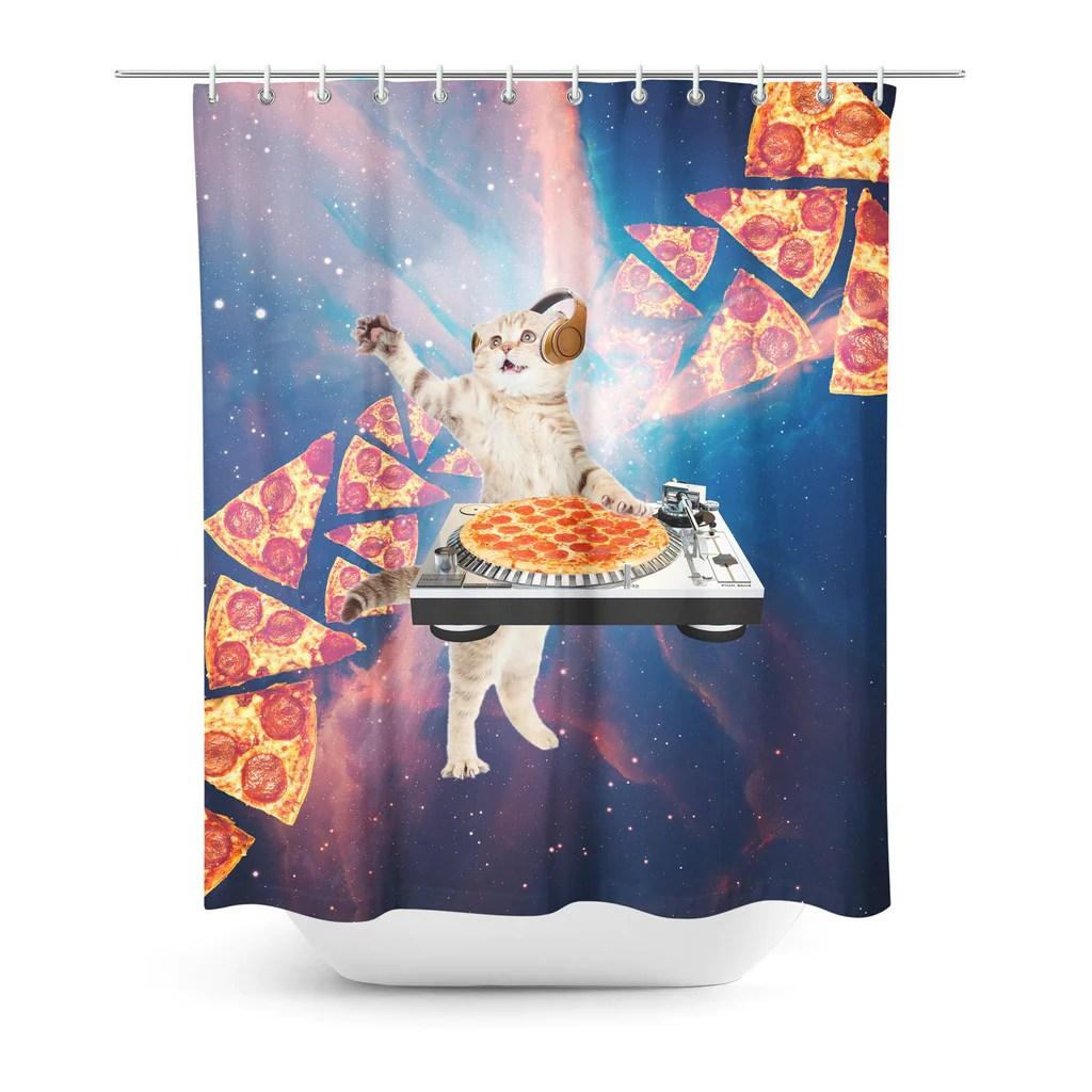 DJ Pizza Cat Shower Curtain Shelfies