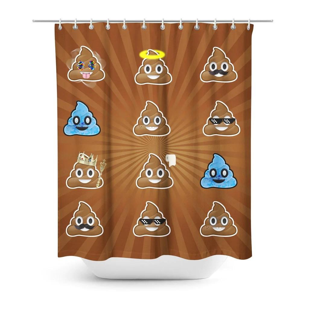 poo emoji shower curtain