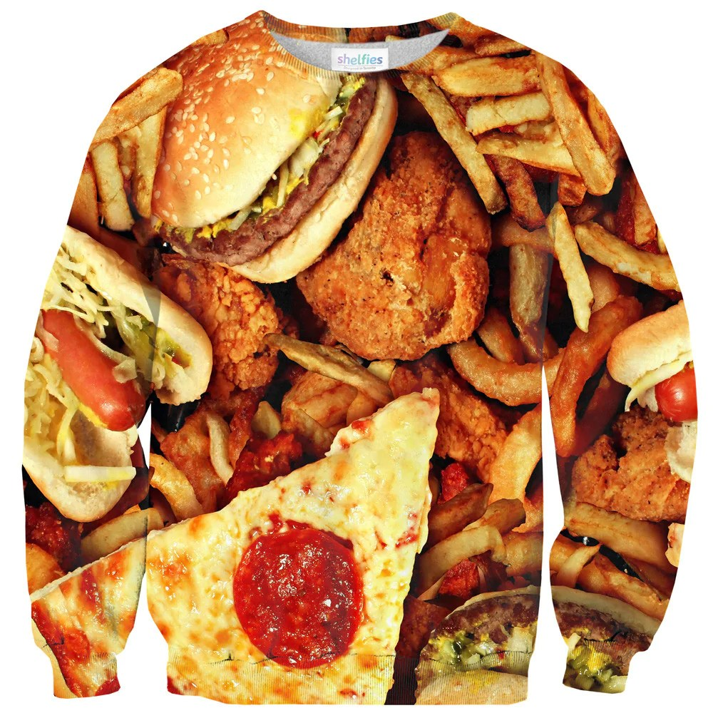 Junk Food Invasion Sweater Shelfies All Over Print