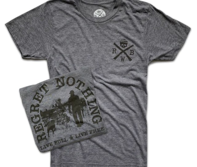 Mens Live Free Regret Nothing T Shirt Gray