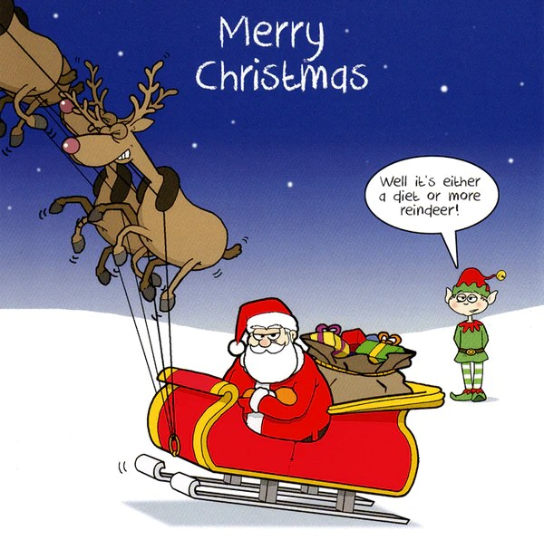Funny Christmas Card Santa Either A Diet Or More