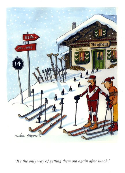 Funny Skiing Card Oliver Preston Out Again After Lunch