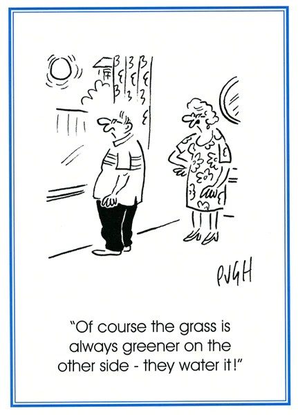 Funny Card Pugh Grass Is Always Greener On The Other