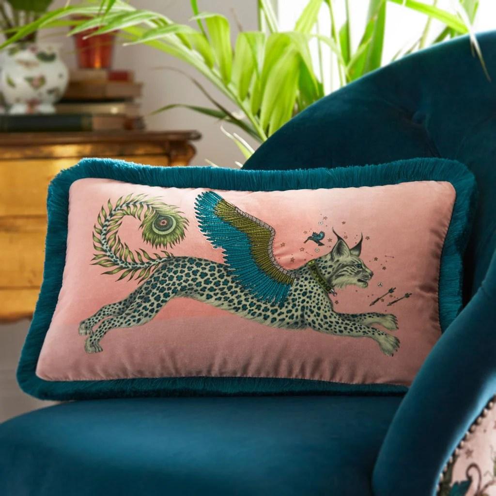 emma j shipley lynx velvet bolster cushion