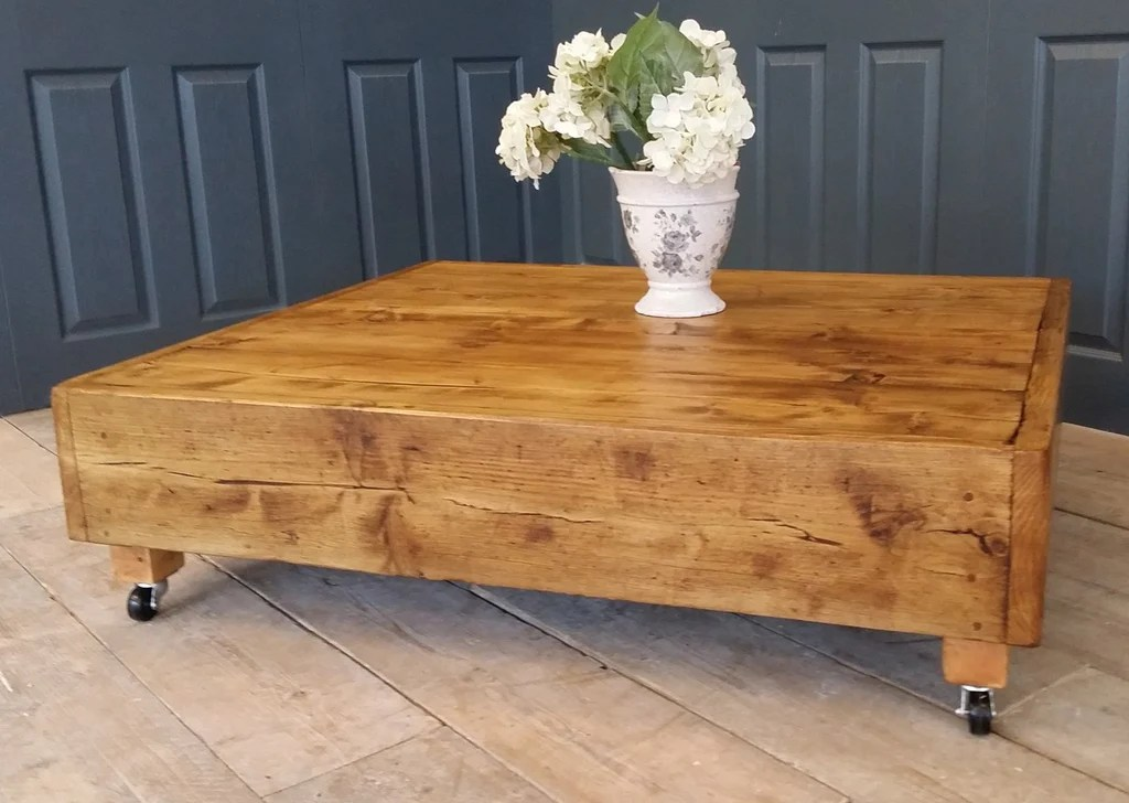 large square industrial vintage reclaimed coffee table with dark oak wax