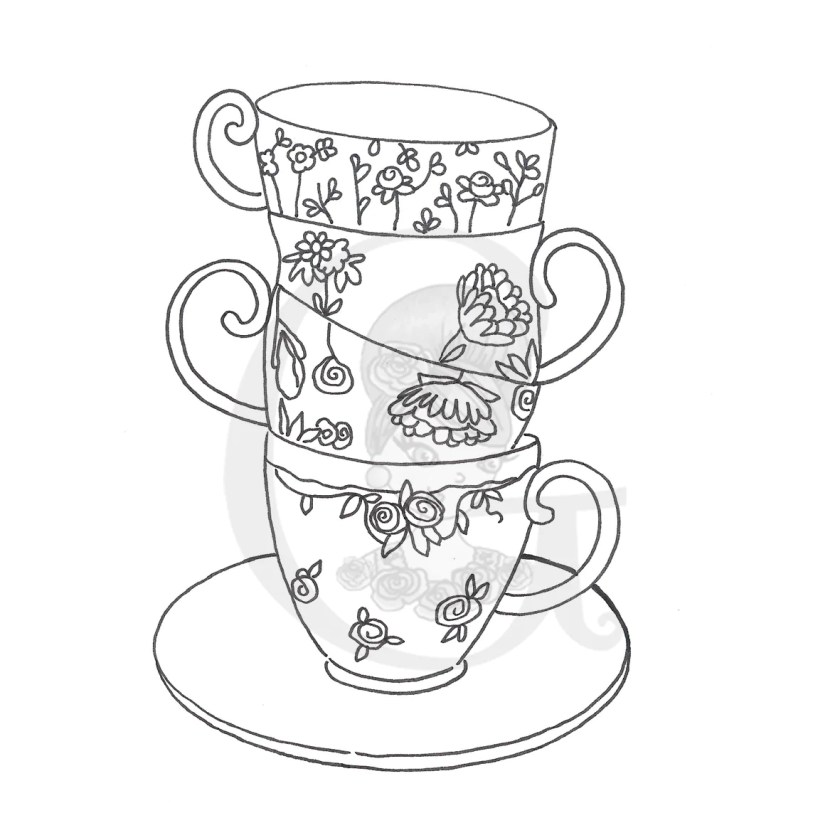 stacked tea cups coloring pages sketch coloring page