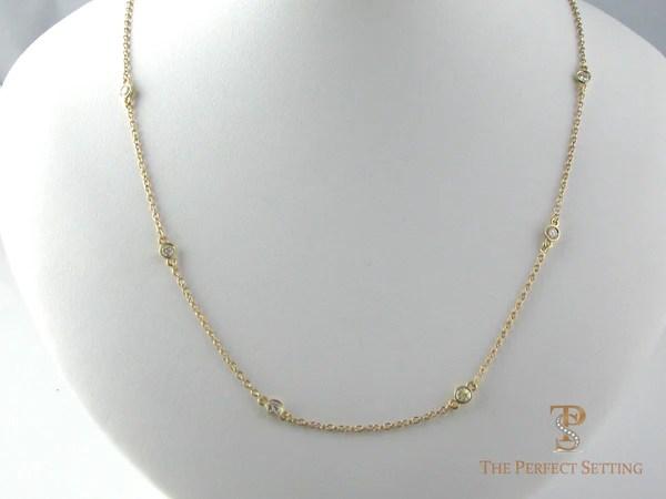 Bezel Set Diamond Necklace White Or Yellow Gold The