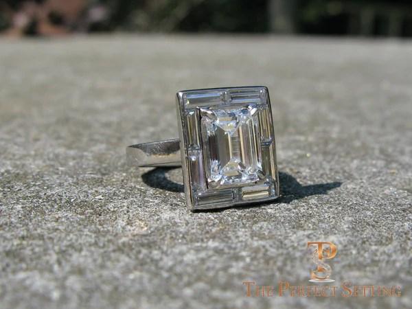 Emerald Cut Diamond Engagement Ring Baguette Halo The