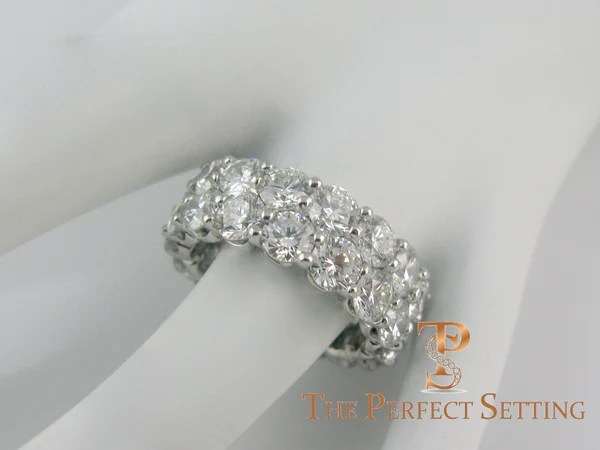 Two Row Round Diamond Eternity Band Custom Platinum