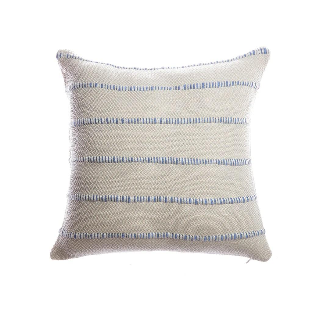 blue multi striped square pillow